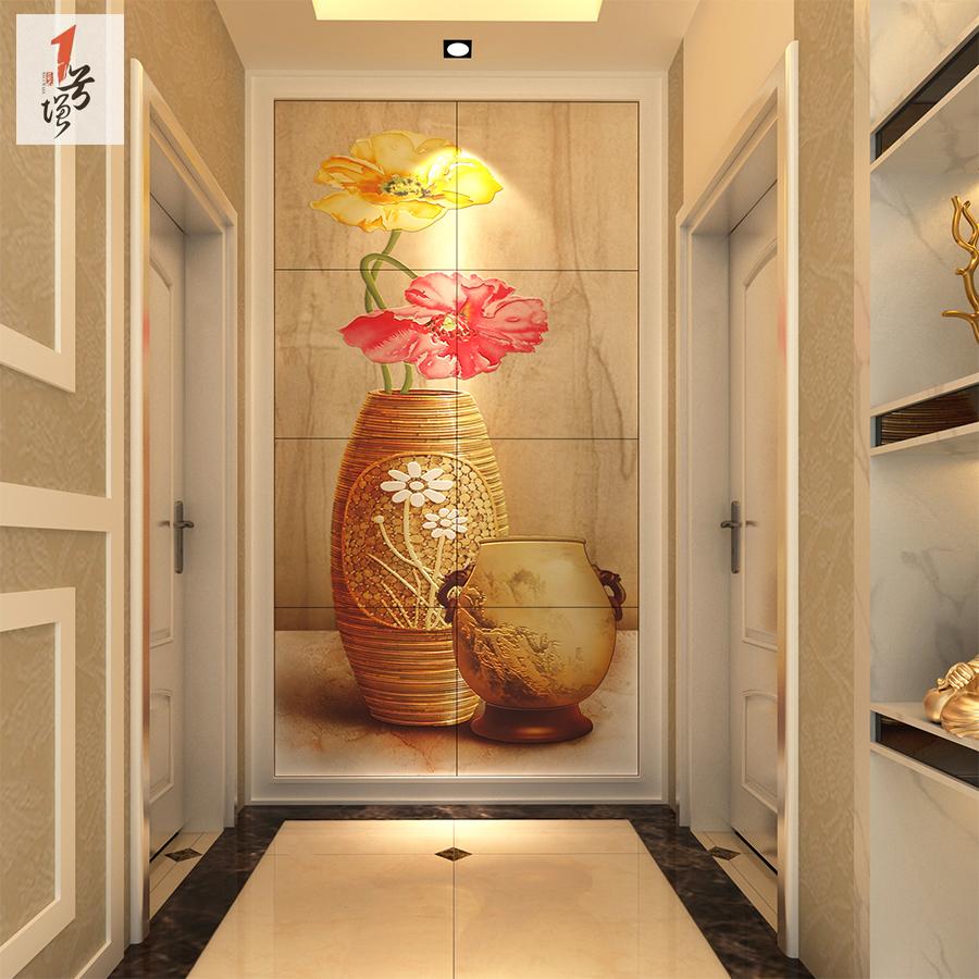 1号墙瓷砖背景墙 玄关背景墙砖 客厅 欧式彩雕过道走廊壁画 瓶花